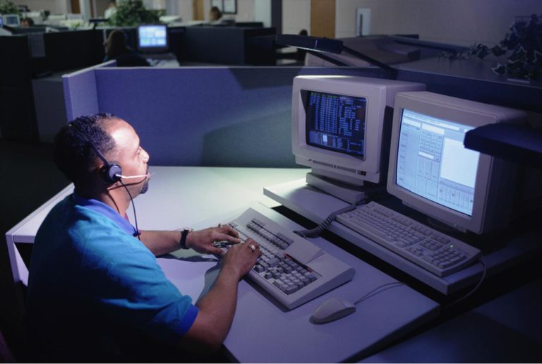 Man working in call center