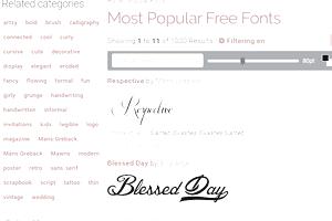 Screenshot of the FontSpace website