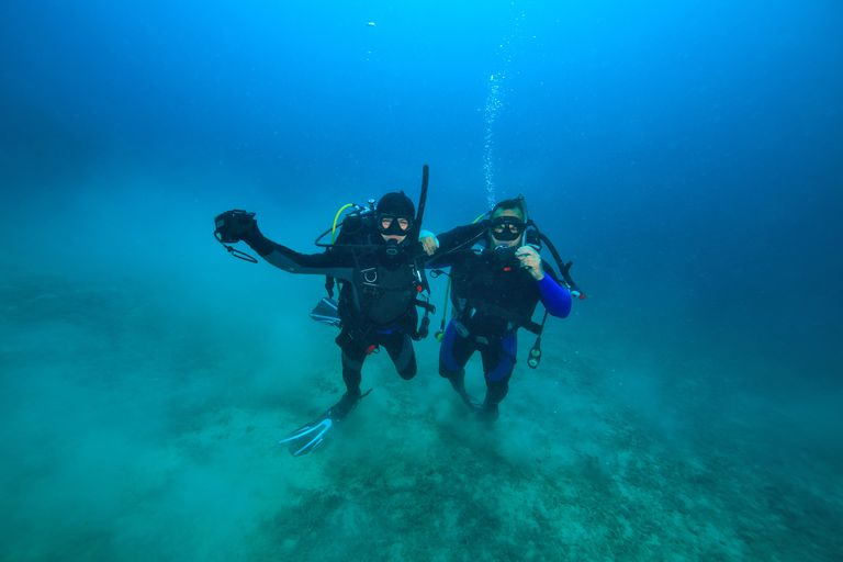 Diving, Two divers, Adriatic Sea, Croatia, Europe