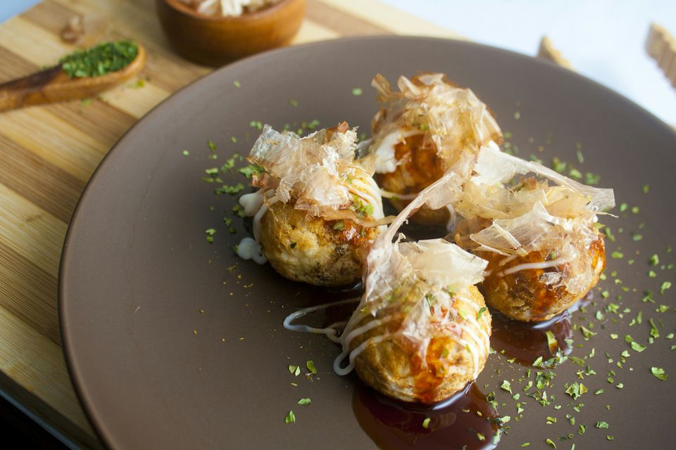 Takoyaki (Grilled Octopus Ball with Sauce, Bonito Flake, Seaweed)