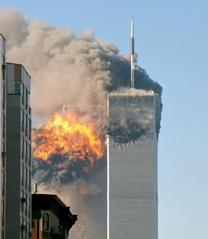 A World Trade Center towers being attacked on 9/11