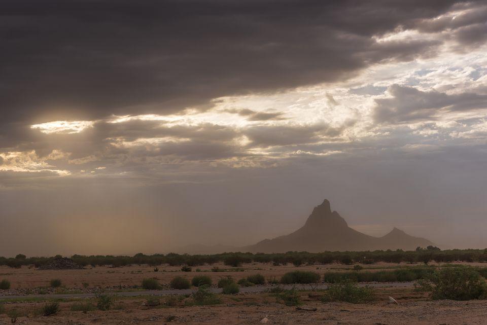 Sandstorm at sunset in the Arizona desert