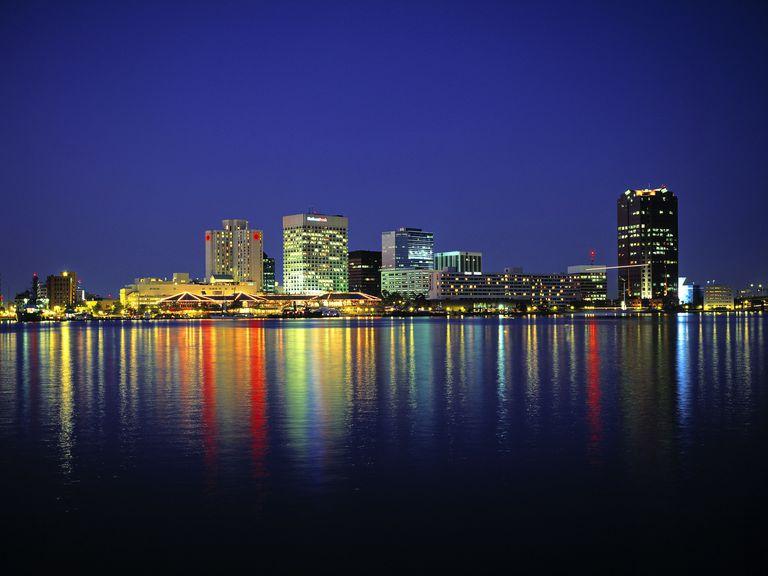Norfolk skyline Virginia USA