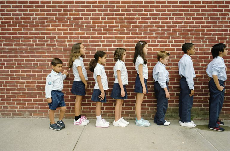 Group of children waiting in a line
