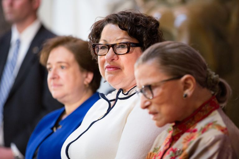 U.S. Supreme Court justices Elena Kagan, Sonia Sotomayor and Ruth Bader Ginsburg