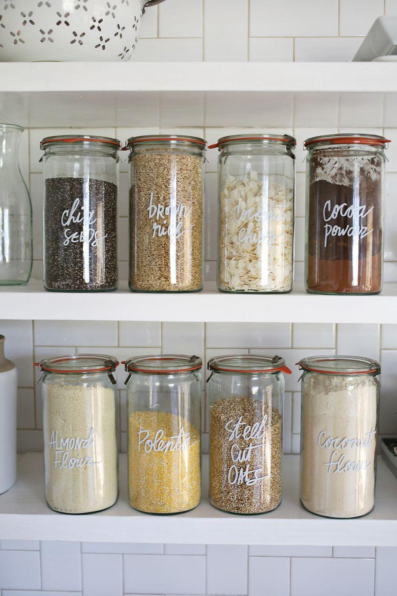 Clear Glass Jar Kitchen Organization