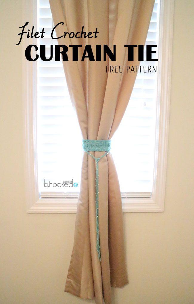 Filet Crochet Curtain Tie Back Free Pattern