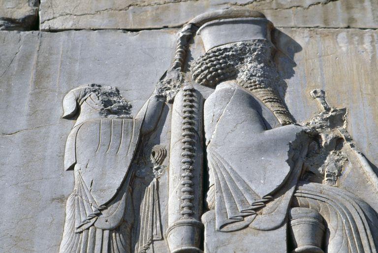 King Darius I, bas-relief, Persepolis (Unesco World Heritage List, 1979), Iran, Achaemenid civilization, 6th-5th century BC, detail