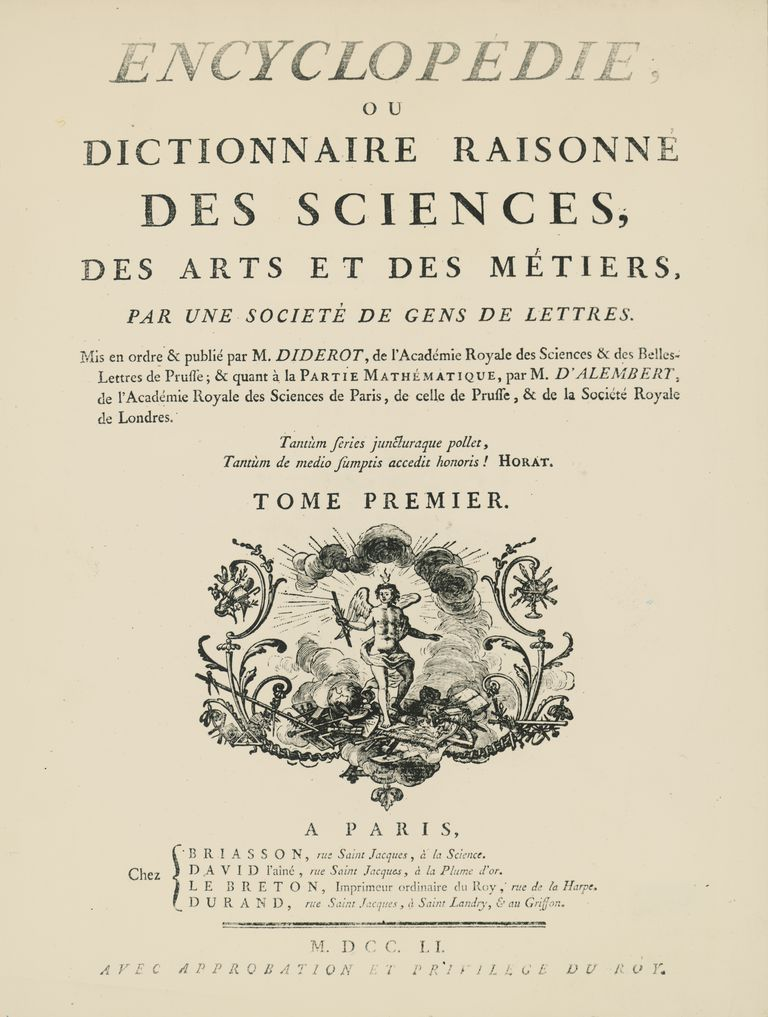 Frontispiece of the Volume I of L'Encyclopedie, by Denis Diderot, Jean Baptiste Le Rond d'Alembert, 1751-1757 Engraving