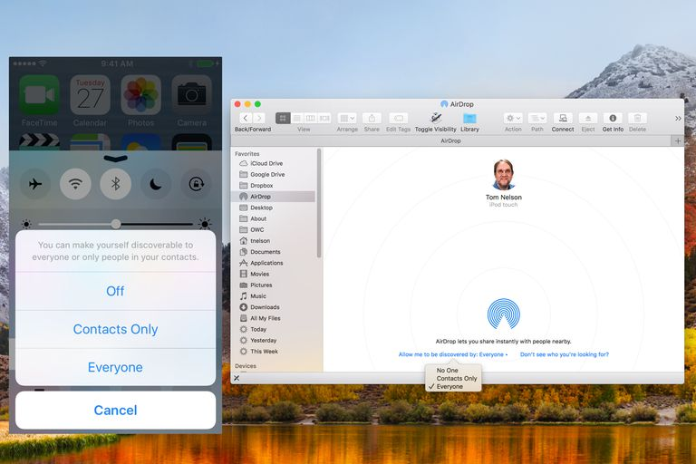iOS and Mac AirDrop discoverable settings.