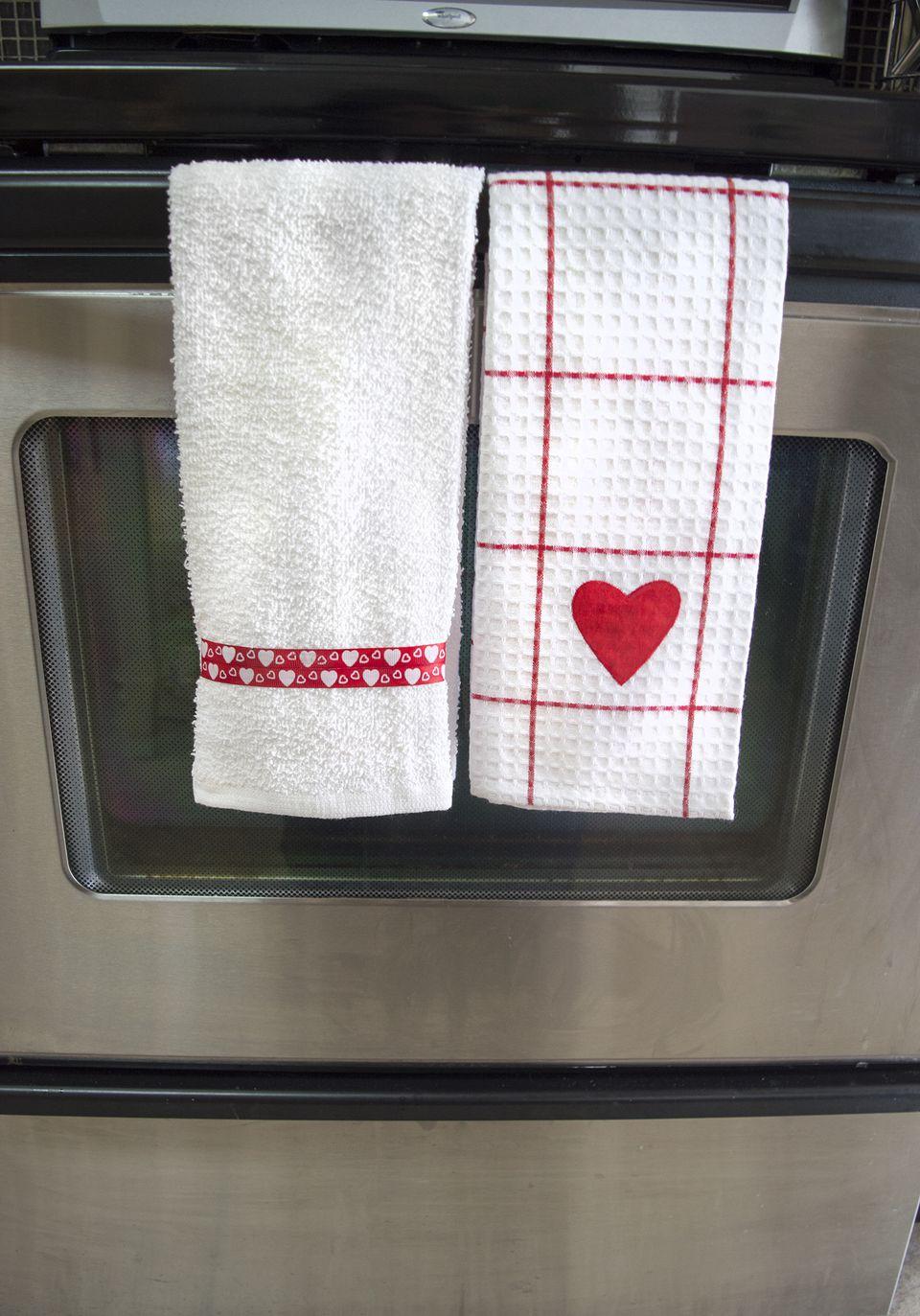 DIY Valentine's Day Kitchen Towels