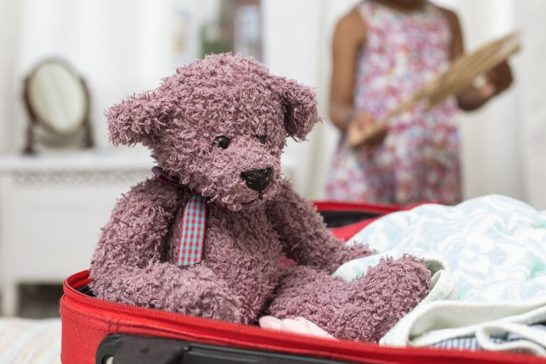 Teddy bear packed in a kids overnight bag