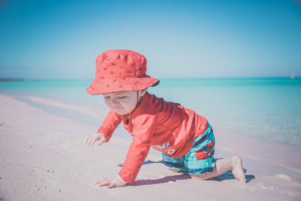 Baby Boy Crawling on Tropical Beach, Cayo Coco, Cuba