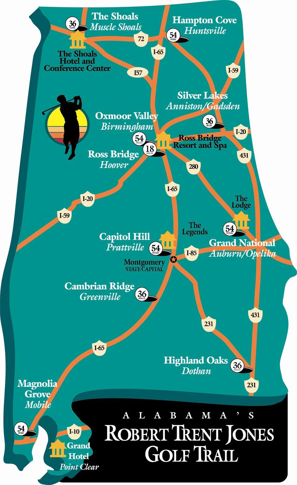 Map of the Robert Trent Jones Golf Trail