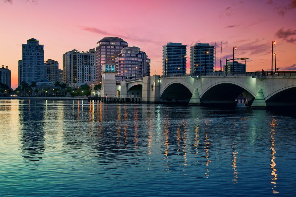 West Palm Beach at sunset.
