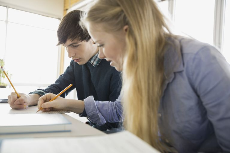 High school students problem solving in classroom