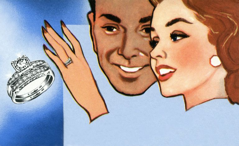 Cartoon drawing of newlywed couple with wedding ring