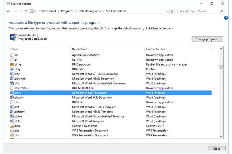 Screenshot of the Default Programs / Set Associations Screen in Windows 10