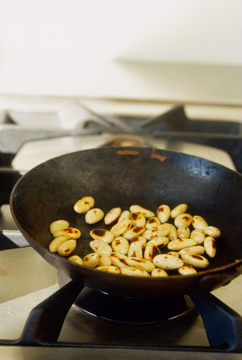 Pan fried almonds