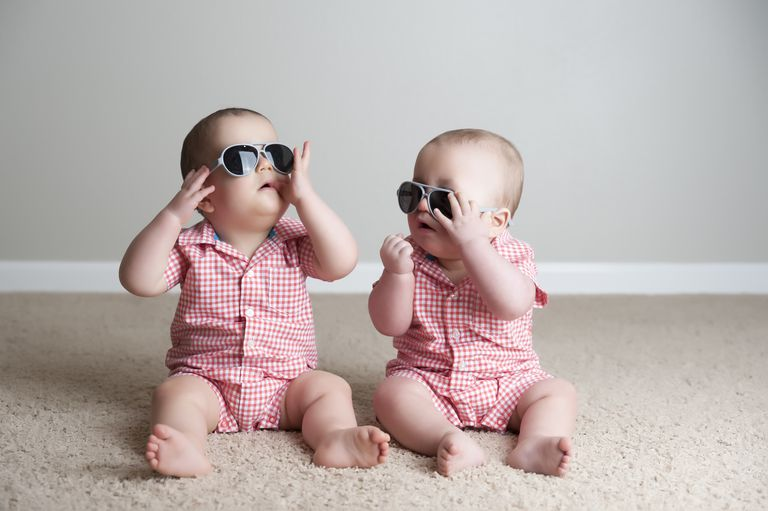 11 month old Fraternal Twin Boys Play Together with sunglasses