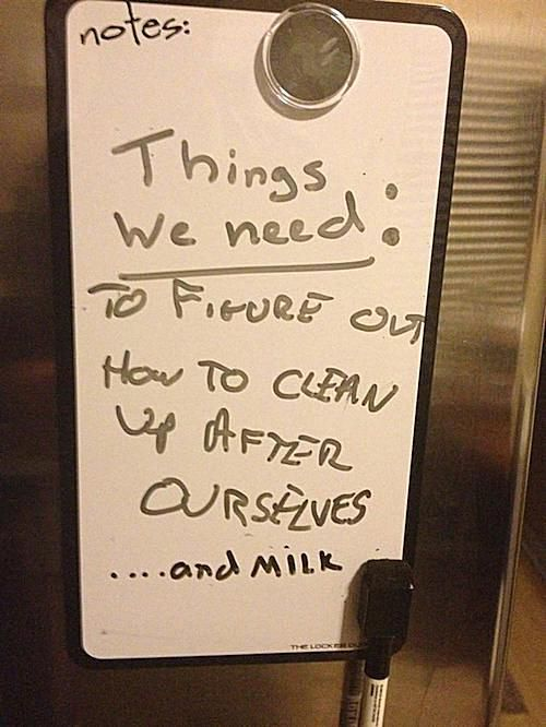 passive aggressive roommate note
