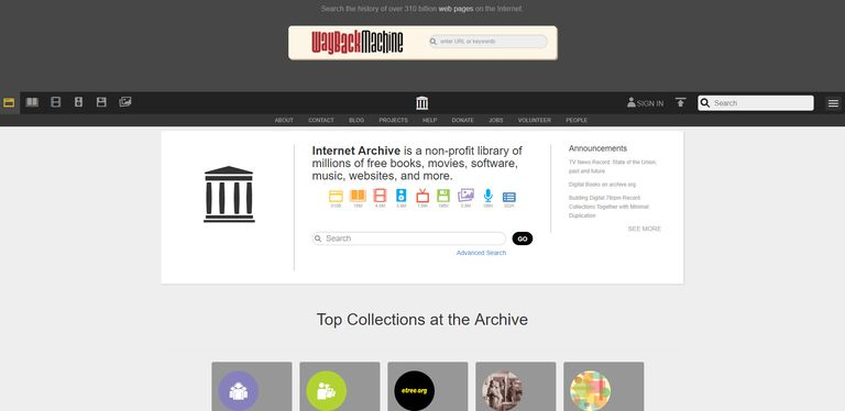 The Internet Archive database offers access to movies, text materials, and audio.