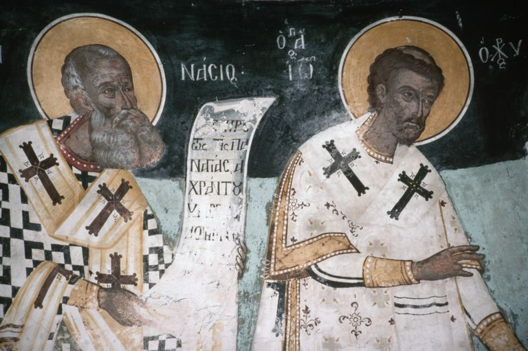 Wall painting of saints