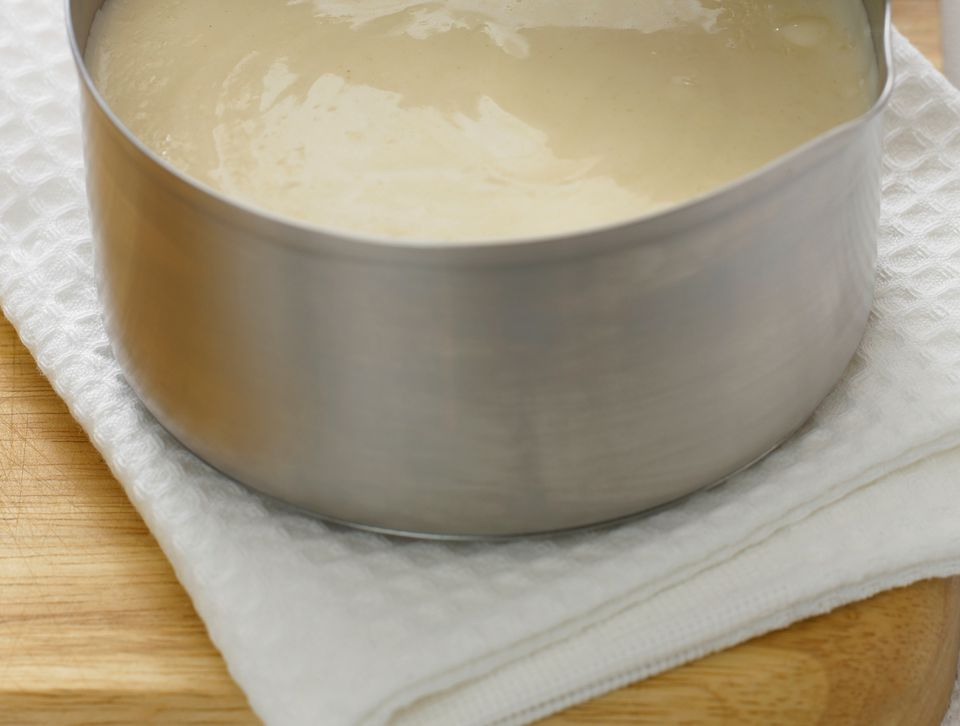 White sauce for pizza, made from butter, milk, flour and Parmesan cheese