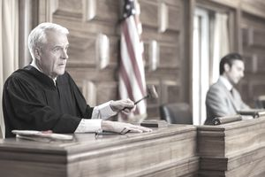 a judge holding a gavel
