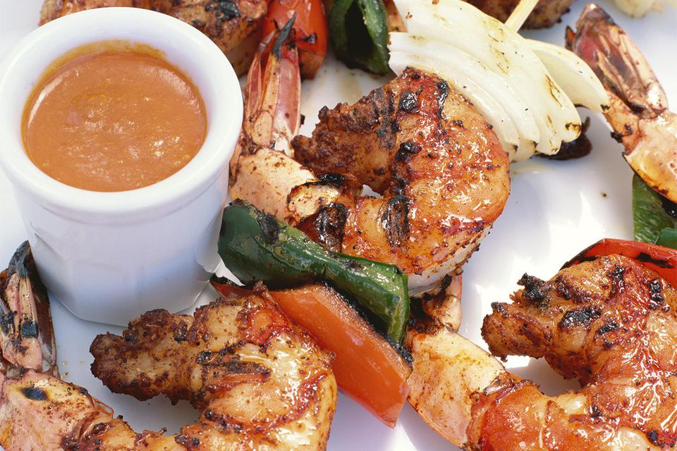 Grilled basque shrimp skewers with Nantua Sauce