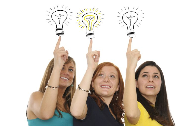 3 women with light bulbs