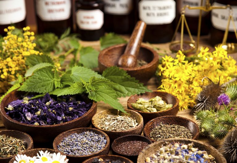 table with many homeopathic remedies in bowls