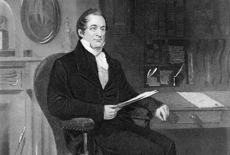 Engraved portrait of seated William Wirt