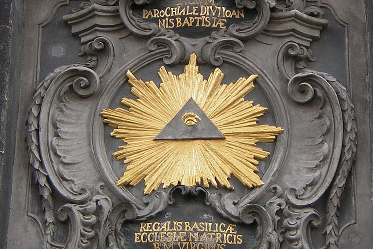 All-seeing eye on the gate of Aachen Cathedral