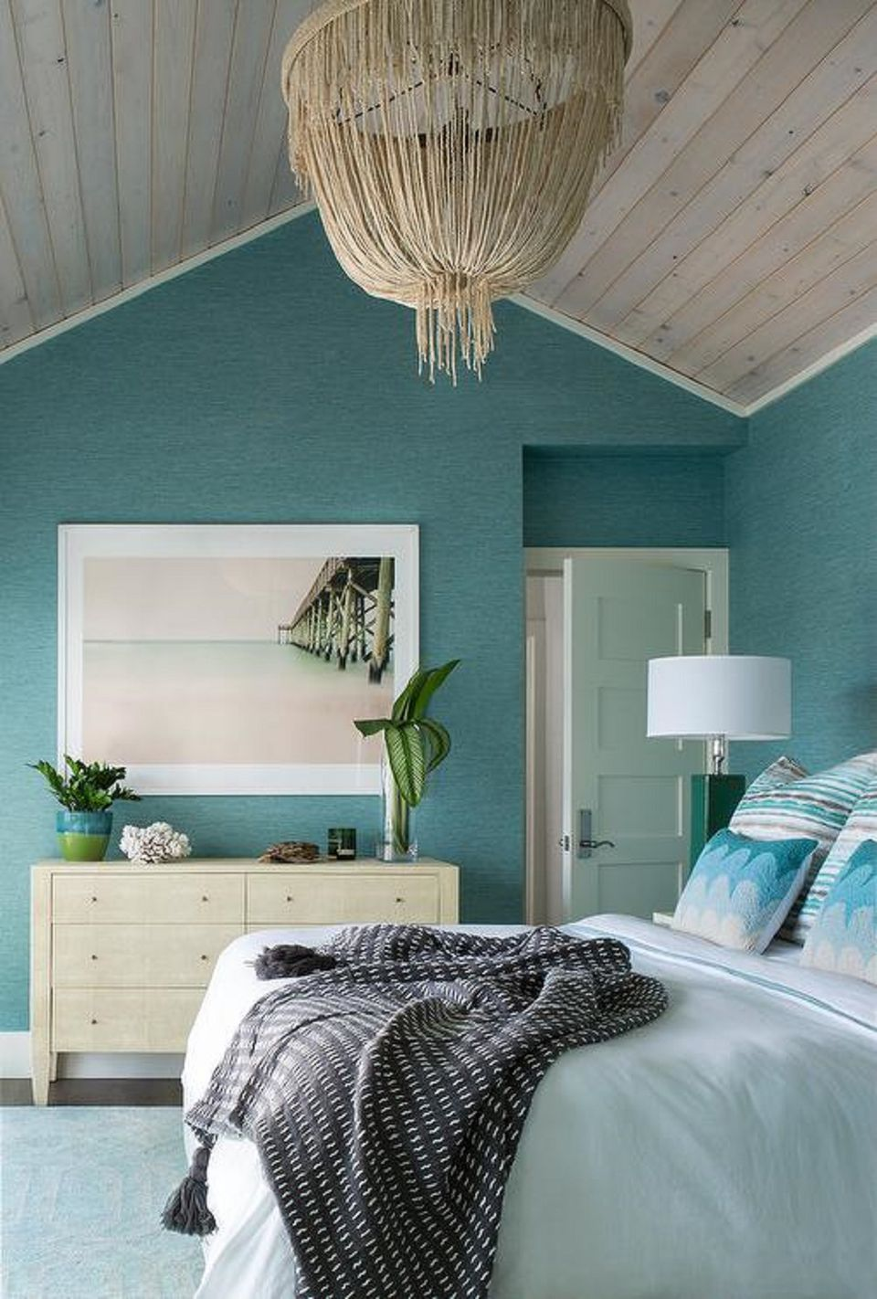50 gorgeous beach bedroom decor ideas for Beach mural bedroom
