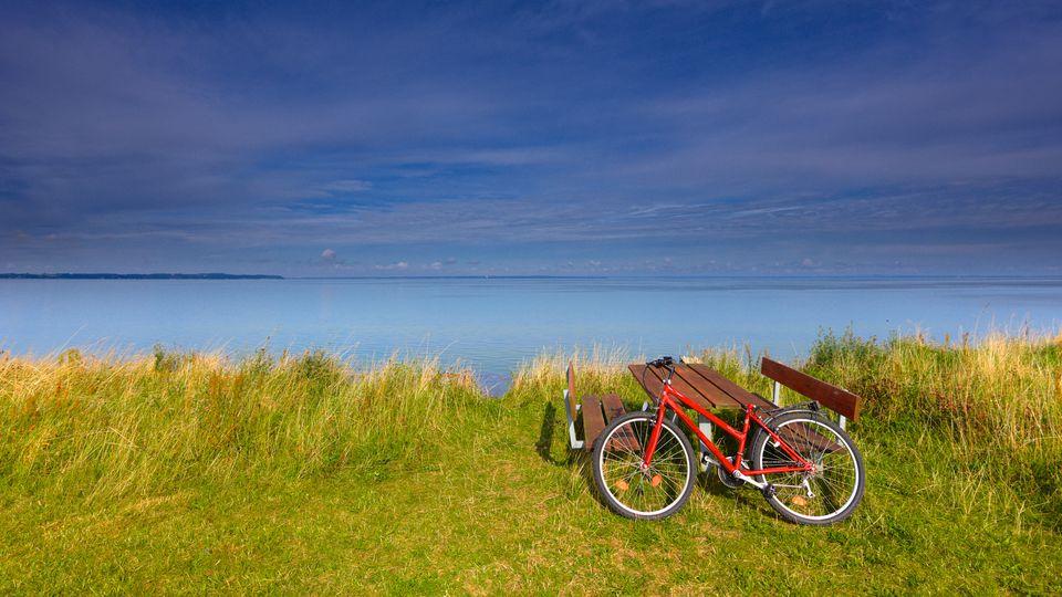 Red bike near the sea