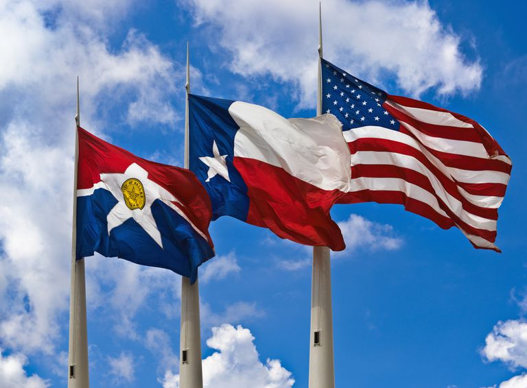 Flags of the City of Dallas, State of Texas and United States of America