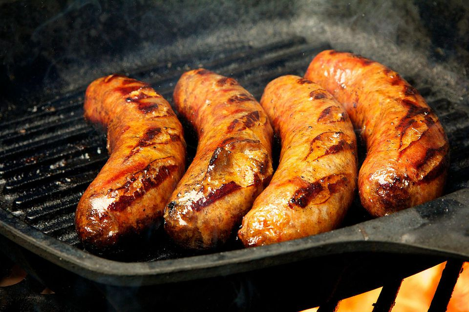 Bratwurst with flames