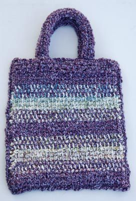 Free crochet purse bag and handbag patterns striped crochet bag made with afghan stitch aka tunisian simple stitch and lion brand homespun dt1010fo