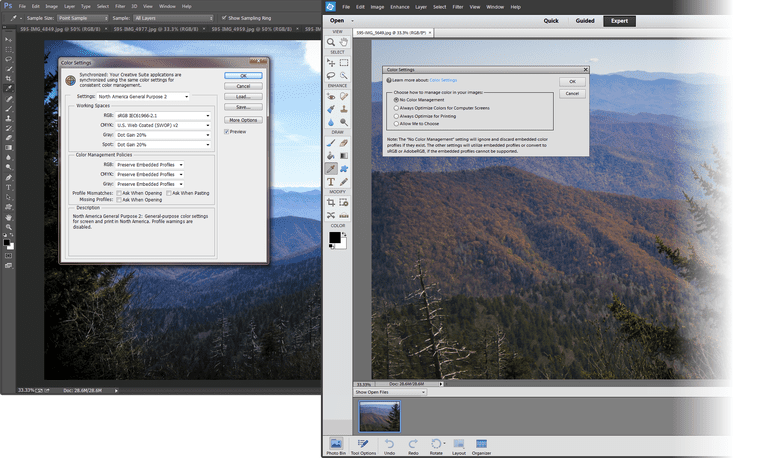 Color Setting in Photoshop and Photoshop Elements