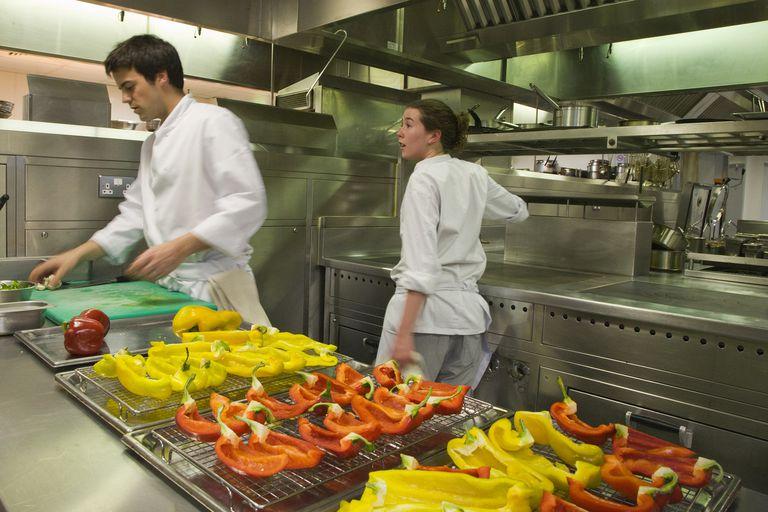 Chefs in a hotel kitchen.
