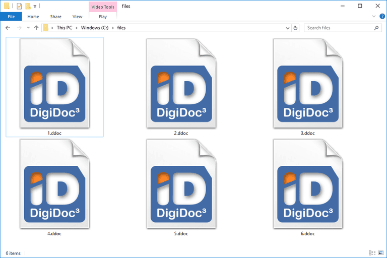 Screenshot of several DDOC files in Windows 10 that open with DigiDoc