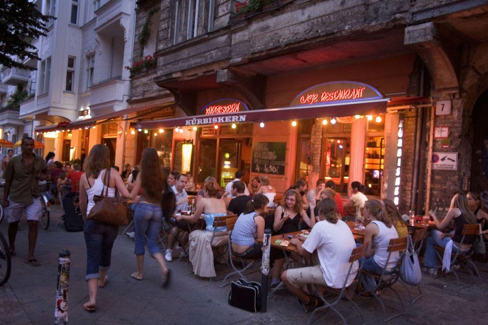Berlin Friedrichshain, Simon Dach street, street cafes restaurants bars, young people