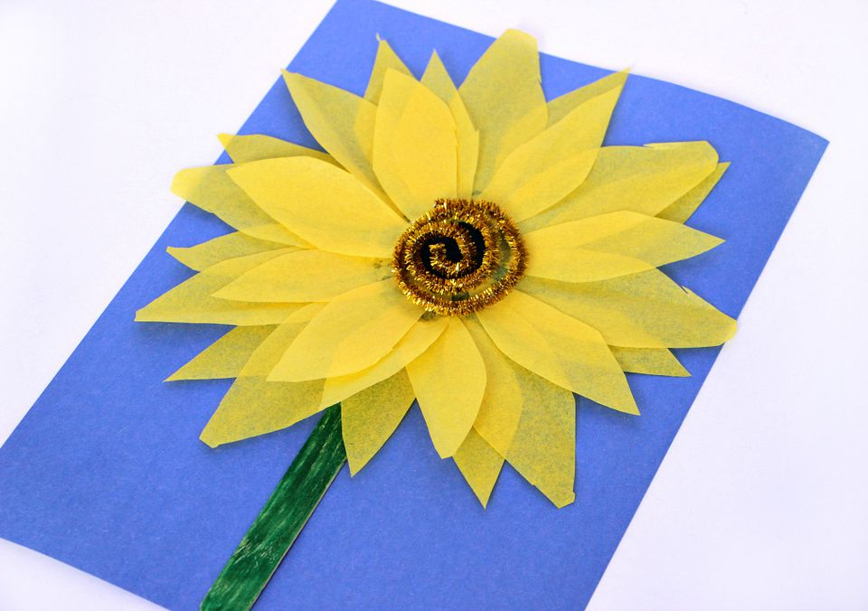 Step Four for Tissue Paper Sunflower Craft