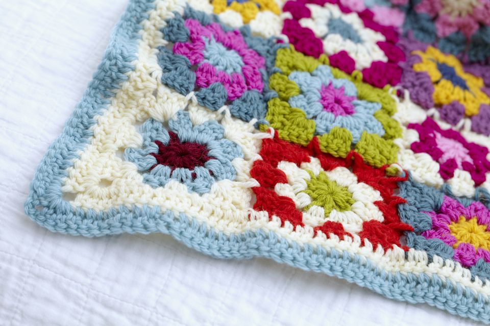 Crocheted granny blanket