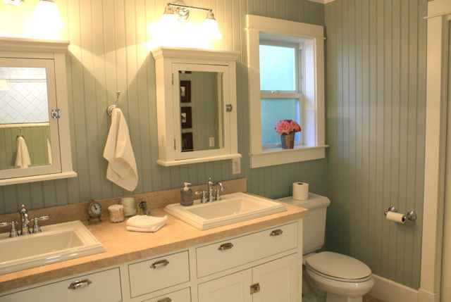 minty beadboard bathroom - Bathroom Designs Using Beadboard