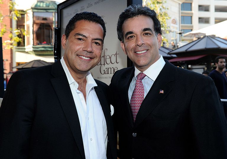 Actor Carlos Gomez and The Latino Coalition's Hector Barreto arrive at the premiere of IndustryWorks' 'The Perfect Game' on April 5, 2010 in Los Angeles, California.
