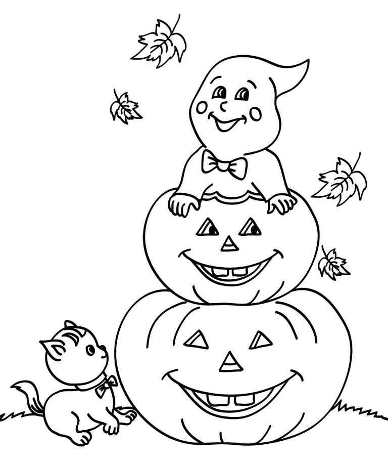 coloring pages pumpkins and ghosts - photo#27