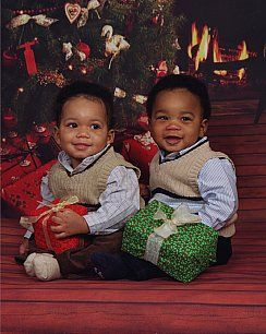 8 month old fraternal twins, Cayman and Grant.