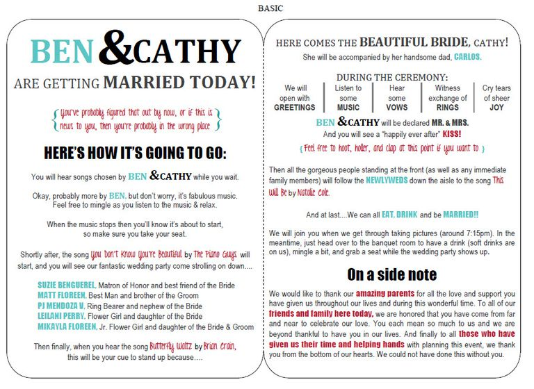 27 free wedding program templates you 39 ll love for Free wedding program templates word